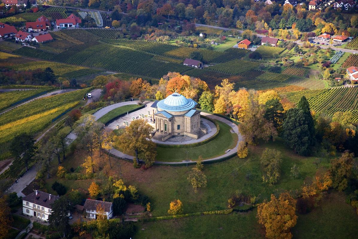 Chapelle funéraire du Wurtemberg, Vue aérienne; l'image: Staatliche Schlösser und Gärten Baden-Württemberg, Achim Mende