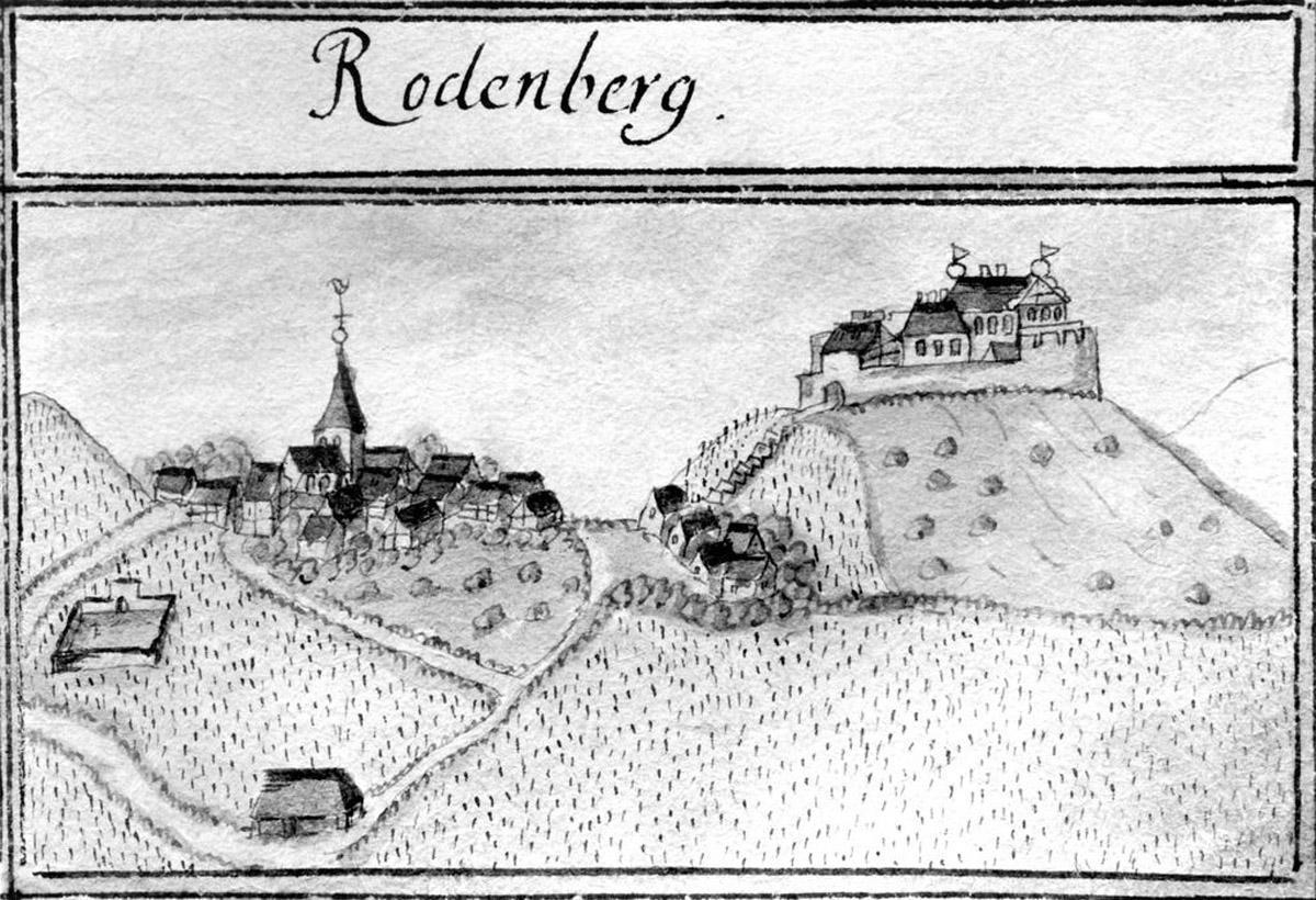 Historic view of Rotenberg hill with castle, 1685, from Kiesersches Forstlagerbuch. Image: Staatliche Schlösser und Gärten Baden-Württemberg, Robert Bothner