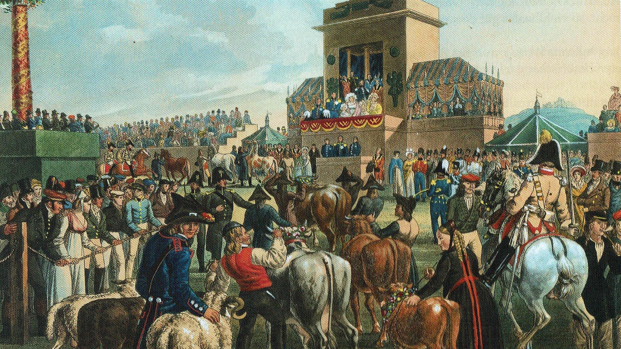 Tierprämierung auf dem Volksfest in Cannstatt, nach einem Gemälde von Johann Baptist Pflug, 1824; Foto: Wikimedia gemeinfrei