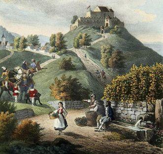 Der Rotenberg mit Burg, Lithografie des Stuttgarter Malers Renz, um 1840; Foto: Landesmedienzentrum Baden-Württemberg, Dieter Jäger