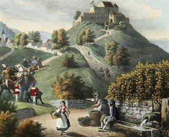 Württemberg mit Stammburg, Lithografie um 1840; Foto: Landesmedienzentrum Baden-Württemberg, Dieter Jäger