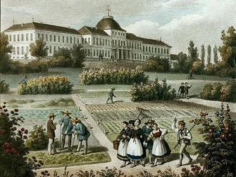Land- und Forstwirtschaftliches Institut Hohenheim, according to a painting by Jakob Heinrich Renz, circa 1845, lithograph at the Städtisches Museum Ludwigsburg. Image: Wikipedia, in the public domain
