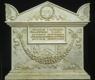 The Sepulchral Chapel on Württemberg Hill, double sarcophagus of Queen Katharina and King Wilhelm I in the crypt. Image: Landesmedienzentrum Baden-Württemberg, credit unknown
