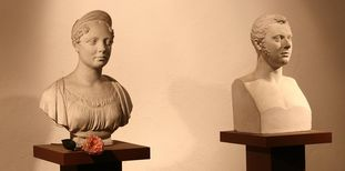 Busts of Katharina and Wilhelm I at the Sepulchral Chapel on Württemberg Hill