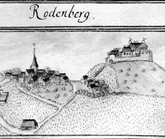 Historische Ansicht des Rotenberg mit Burg von 1685 aus dem Kiesersches Forstlagerbuch 143, 24; Foto: Landesmedienzentrum Baden-Württemberg, Robert Bothner