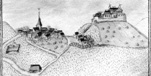 Image: Historic view of Rotenberg hill with castle, 1685, from Kiesersches Forstlagerbuch