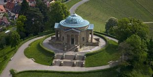Aerial view of the Sepulchral Chapel on Württemberg Hill