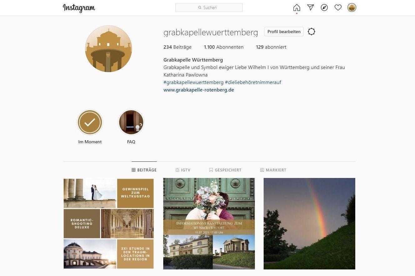 Grabkapelle auf dem Württemberg, Instagramseite
