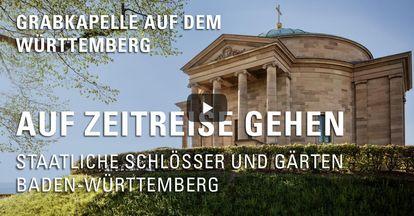 """Startbildschirm des Filmes """"Zeitreise mit Michael Hörrmann: Grabkapelle auf dem Württemberg"""""""