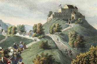 Lithograph of Rotenberg hill with castle, 1840. Image: Landesmedienzentrum Baden-Württemberg, Dieter Jäger